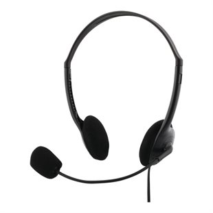 Deltaco, Stereo Headset, 30mm, 3.5mm, 4-pol, Black