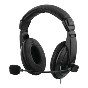 Deltaco, Stereo headset m/volumekontrol, 2 x 3,5mm, sort