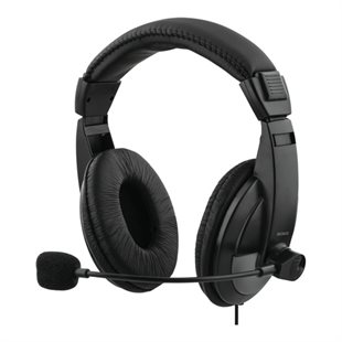 Deltaco, Stereo Headset, USB, 40mm element, Black