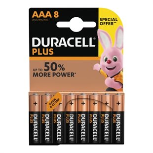 Duracell, Plus Power AAA Batterier, 8pk - Special Offer