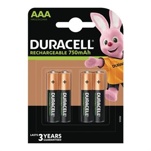 Duracell, Recharge Plus AAA 750mAh Batterier, 4pk