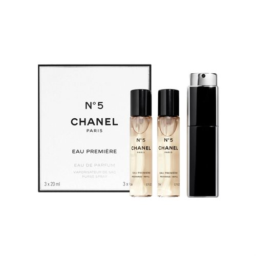Chanel No 5 Eau Premiere Giftset 60ml 2x EDP Spray Refill 20Ml/1x EDP Spray 20Ml/Purse and Spray