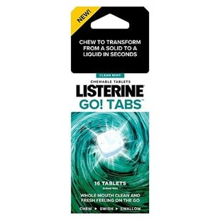 Listerine Go Tablets Chewable Mouthwash Clean Mint 16'