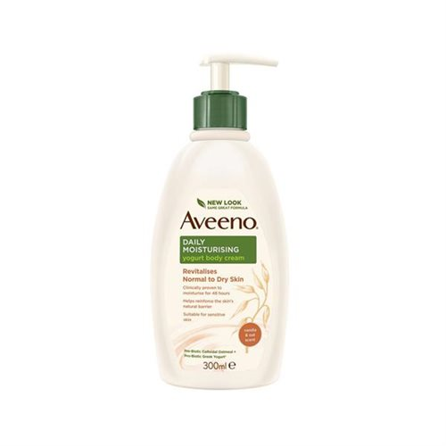 Aveeno Daily Moisturising Yogurt Body Cream 300ml Revitalises Normal to Dry Skin