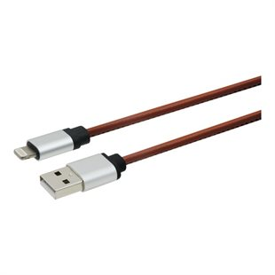 Essentials, USB-A - Lightning MFI kabel, PU-læder, 1m, brun