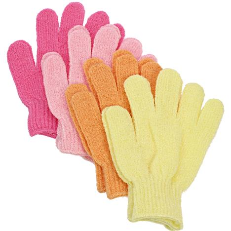Bath Glove Massage 2Pc Pastel Colours In Cello.