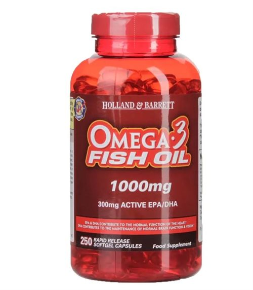 Holland & Barrett, Omega 3 Fish Oil, 1000 mg, 250 Kapsler