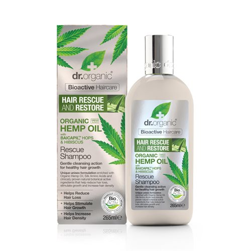 Dr. Organic, Hemp Oil Hair Rescue Shampoo, 265 Ml.