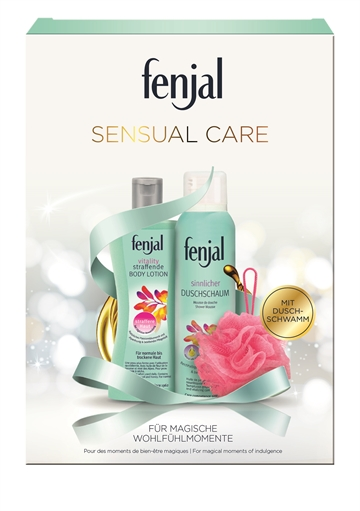FENJAL SENSUAL CARE Gift box Shower Mousse Vitility 200 ml + Lotion Vitility 200 ml + nylon badesvamp