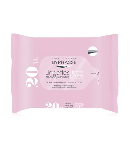 Byphasse Remover Cleansing Wipes 20 U. Face And Eyes Milk Proteins All Skin Types