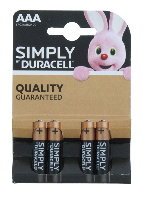 Duracell AAa Simply 4'  New Pack