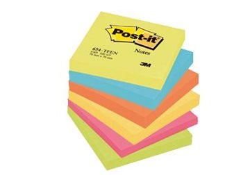 Post-It Blokke 3M 76X76 Mm Pastel Gul-Blå-Rød-Grøn