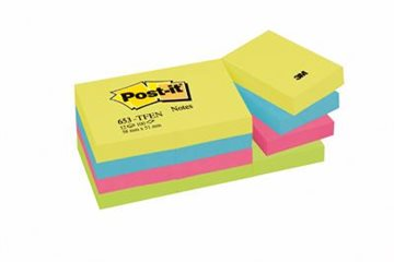 Post-It Blokke 3M Ass.Dreamy 38X51 Mm L.Grøn-L.Blå-Blå-Gul