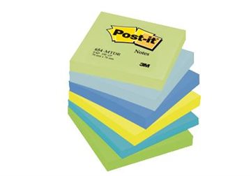 Post-It Blokke 3M 76X76 Mm Pastel Grøn-Blå-Gul