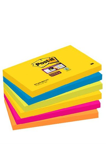 Post-It Blokke 3M 76X127Mm Super Sticky Ass. Rio Color