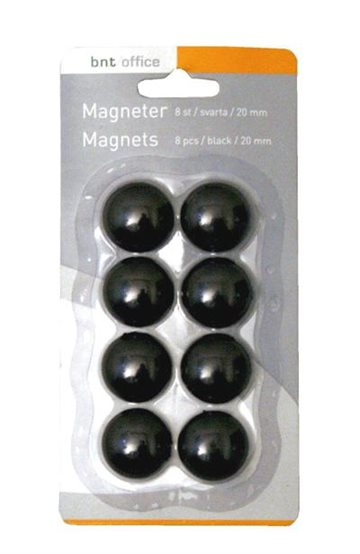 Magneter 20 Mm Sort (8 Stk)