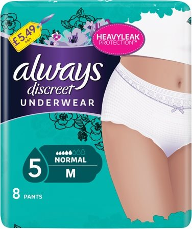 Always Discreet Sensitive Bladder Pants Normal Medium 5'S