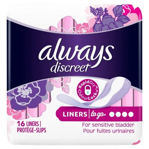 Always Discreet Liners To Go For Sensitive Bladder 16' s