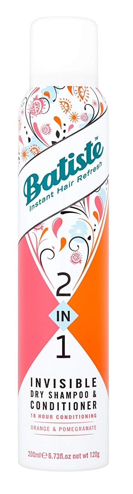 Batiste 2In1 Dry Shampoo & Conditioner - Orange & Pomegranate - For Dry, Coloured And Curly Hair - 200 ml