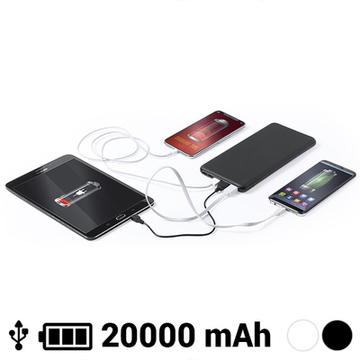 Batteri 20000 mAh USB-C Lightning Micro USB 145784 Sort