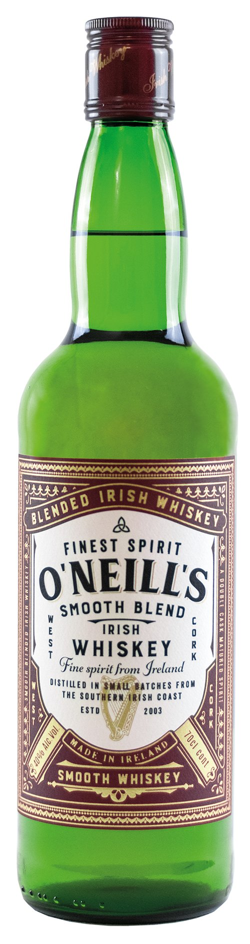 West Cork Distillers Limited O NEILLS BLENDED 40% Irish Whiskey, 0,7 l